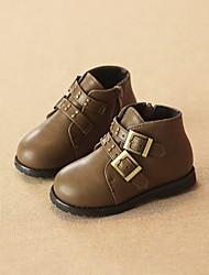 Boy's Boots Spring Fall Comfort Leatherette Casual Flat Heel Black Burgundy Khaki