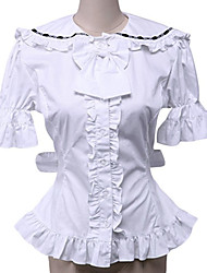 Blouse/Shirt Sweet Lolita Rococo Cosplay Lolita Dress White Solid Short Sleeve Lolita Blouse For Women Cotton