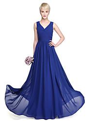 Lanting Bride® Longo Georgette Vestido de Madrinha - Linha A Decote V Tamanhos Grandes / Mignon com Cruzado / Drapeado Lateral