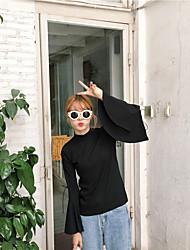 signer l'automne version coréenne creux chemise t-shirt à manches haut-parleur mince sangle fendue couleur unie à manches longues femmes