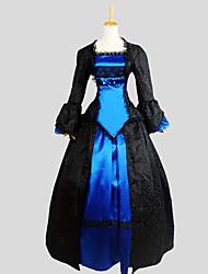 Austattungen Gothik Viktorianisch Cosplay Lolita Kleider Schwarz Jacquard Langarm Asymmetrisch Smoking Für Damen Seide