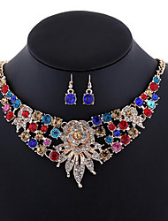 MISSING U Women Bohemia Elegant 18K Gold Plated Necklace & Earrings Jewelry Sets Wedding / Party / Daily Gemstone & Crystal / Alloy / Rhinestone