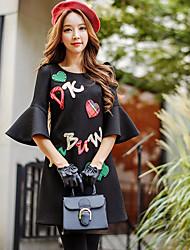 Mujer Línea A Vaina Pequeño Negro Vestido Noche Casual/Diario Vacaciones Bonito Punk & Gótico Sofisticado,Un Color EstampadoEscote