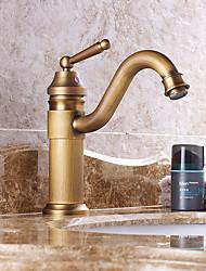 Bathroom Sink Faucet Antique Brass Single Handle Centerset Faucet