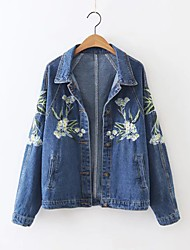 Women's Going out / Casual/Daily Simple / Street chic Denim Jackets,Embroidered Shirt Collar Long Sleeve Fall / Winter BlueAcrylic /