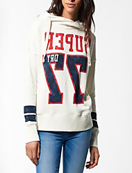 Women's Petite Casual/Daily Active Hoodie Letter Oversized Round Neck Fleece Lining Micro-elastic Polyester Long Sleeve Fall Winter