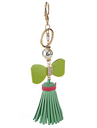 Key Chain Green Metal PU Leather