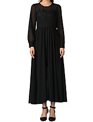 Elegant long-sleeved black dress mopping big swing dress chest wrapped piece dress complex Gulei Si