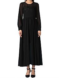 elegante vestido preto de mangas compridas esfregar peito grande vestido balanço peças vestido envolto Gulei complexo si