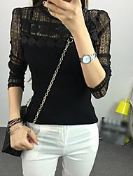 Normal Pullover Femme Décontracté / Quotidien simple,Mosaïque Noir Col Roulé Manches Longues Coton Automne Fin Elastique