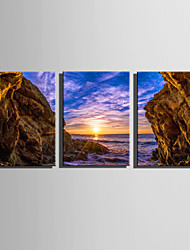 E-HOME Stretched Canvas Art Sunset Under The Cliff Decoration Painting Set Of 3