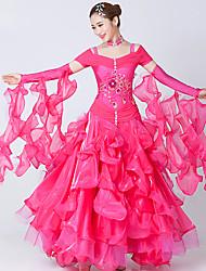 Danse de Salon Robes Femme Spectacle Elasthanne Tulle Broderie Fantaisie 2 Pièces Manche courte Robe Tour de Cou