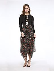 Women's Floral / Print Black / Brown Wide Leg Pants , Party / Plus Sizes Asymmetric High Rise Fashion Chiffon