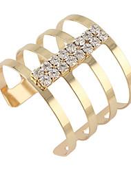 Punk Rock Jewelry Individual Big Gold Alloy Bangles and Bracelet Geometric with Rhinestone Cuff Bangles