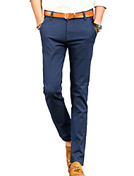Hombre Delgado Chinos Pantalones,Un Color Casual/Diario Trabajo Noche Sencillo Tiro Medio Botón Algodón Micro-elástica All Seasons