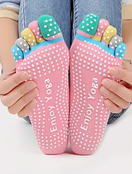 Жен. Носки Спортивные носки Носки с пальцами Нескользящие носки Йога ПилатесДышащий Пригодно для носки Впитывает пот и влагу