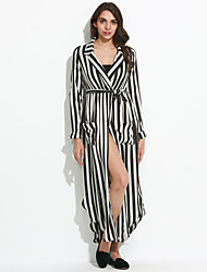 Women's Fine Stripe|Asymmetrical|Bow Casual/Daily Vintage Sheath Chiffon Dress,Striped Shirt Collar Maxi Long Sleeve White / Black Others Fall