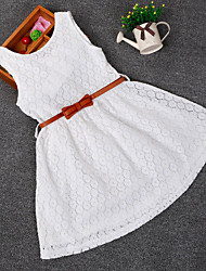Girl's Summer Micro-elastic Medium Sleeveless Dresses (Cotton/Lace/Polyester)