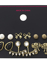 6 Pairs/Set Fashion Elephant Earrings Set Black Water Stud Earrings For Women Vintage Cute Simulated Pearl Bow Jewelry Gift