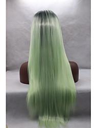 Mulher Perucas sintéticas Frente de Malha Liso Verde Riscas Naturais Peruca de Halloween Peruca de carnaval Peruca Natural Perucas para