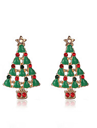 Stud Earrings Simulated Diamond Alloy Chrismas Green Jewelry Party Daily Christmas Gifts 1 pair