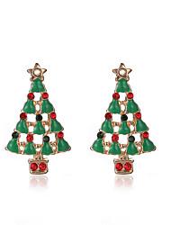 Pendientes cortos La imitación de diamante Legierung Chrismas Verde Joyas Fiesta Diario Regalos de Navidad 1 par