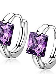 Mulheres Brincos em Argola Cristal Zircônia cúbica Moda Europeu bijuterias Prata de Lei Cristal Zircão Zircônia Cubica Quadrado Forma