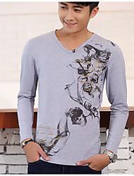 Tee-shirt Hommes,Imprimé Décontracté / Quotidien Chinoiserie Automne / Hiver Manches Longues Col en V Blanc / Noir / Gris Coton Moyen