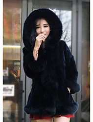 Women's Going out Casual/Daily Vintage Simple Fur Coat,Solid Stand Long Sleeve Winter White Black Rabbit Fur Thick