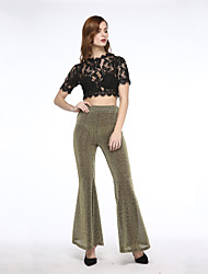 Women's Sexy Flared Pants Boot Cut Wide Leg High Elastic Waist Party Club Casual OL Trousers Cloth