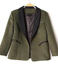 Women's Casual/Daily Simple Jackets,Solid Stand Long Sleeve Fall Winter Green Wool Cotton Medium