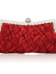 Women Bags Satin Evening Bag with Crystal/ Rhinestone for Event/Party Beige Purple Fuchsia Red Ivory