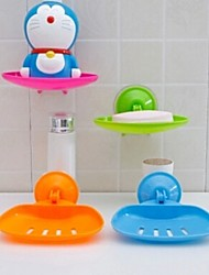Vacuum Suction Cup Soap Box Bathroom Cutout Water Soap Box Seamless Storage Rack(Random Color)