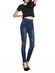 Women's Slim Jeans / Chinos Pants,Going out / Casual/Daily Simple / Street chic Print Mid Rise Zipper / Button / Elasticity Others
