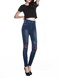 Feminino Delgado Jeans Chinos Calças-Estampado Happy-Hour Casual Simples Moda de Rua Cintura Média Zíper Botão Elasticidade OthersCom