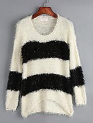 Standard Pullover Einfach Gestreift Rot Schwarz Rundhalsausschnitt Langarm Acryl Frühling Mittel Mikro-elastisch