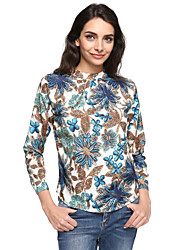 Women's Work Vintage Summer Blouse,Print Turtleneck Long Sleeve Blue Silk Thin