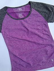 Mulheres Camiseta de Corrida Manga Curta Secagem Rápida Respirável Redutor de Suor Pulôver Blusas para Ioga Exercício e Atividade Física