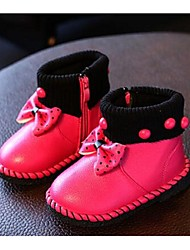 Kids' Girls' Baby Boots Comfort Leatherette Casual Comfort Peach Ruby Blushing Pink Flat
