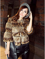 Women's Casual/Daily Simple Fur Coat,Leopard Round Neck ¾ Sleeve Winter Brown Special Fur Types Thick
