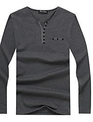 Tee-shirt Hommes,Couleur Pleine Décontracté / Quotidien simple Automne / Hiver Manches Longues Col Arrondi Bleu / Noir / Gris Coton Fin