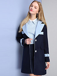 KAN F Women's Casual/Daily Simple CoatSolid Hooded Long Sleeve Winter Blue Wool Polyester
