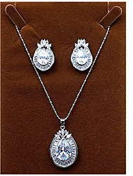 Jewelry Set Zircon Cubic Zirconia Simulated Diamond Simple Style Silver Party 1set Necklaces Earrings Wedding Gifts