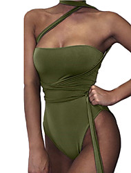 Women's Bandeau One-piece,Solid Polyester White Green Orange Black