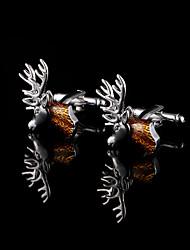 abotoaduras cabeça de veado para homens cobre abotoaduras materiais presentes do Natal presente jóia animal do pai com caixa de presente