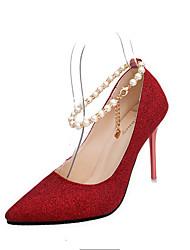 Women's Heels Comfort PU Spring Fall Wedding Casual Outdoor Dress Walking Comfort Imitation Pearl Stiletto HeelDark Blue Ruby Blushing