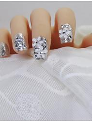 24 pcs de terminer un morceau de fleurs tranquillement élégant lumineux argent éclair mariée un patch produit fini faux ongles