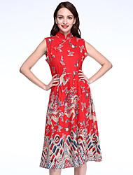 Women's Going out Street chic Loose Dress,Print Strap Asymmetrical Sleeveless Blue / Pink Polyester Summer