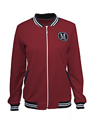 Women's Sports Active Jackets,Striped / Letter Stand Long Sleeve Fall / Winter Red Polyester