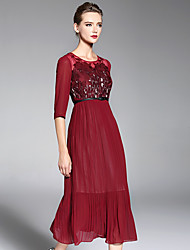 A-line Mother of the Bride Dress Ankle-length 3/4 Length Sleeve Chiffon Lace with Pleats Sequins